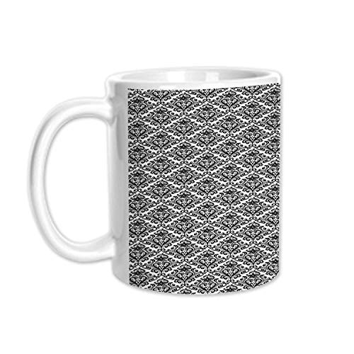 Damask Stylish White Printed Mug,Flower Arrangement with Antique Leaf Motifs Monochrome Surreal and Dotted Art Style Decorative for Living Room Bedroom,3.1