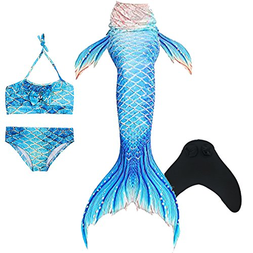 Mermaid Tails for Swimming,with Monofin,Children Mermaid Clothing Cosplay,Swimmable Tail Swimsuit 4PCS Sets for $<!--$39.99-->