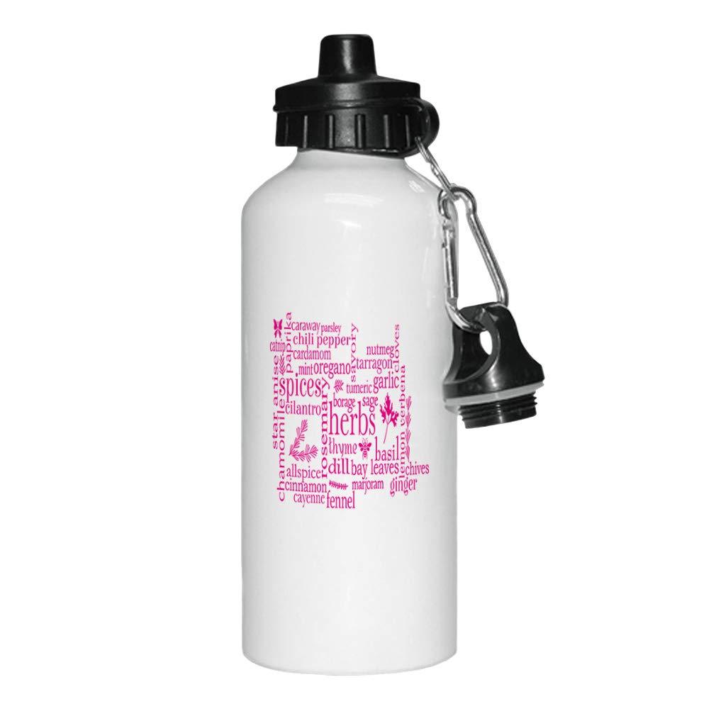 Style In Print Hot Pink Herbs Thyme Dill Fennel Nutmeg Tarragon Tumeric Borage Sage Bay Basil Lemon Uerbena Chives Ginger Aluminun White Water Bottle