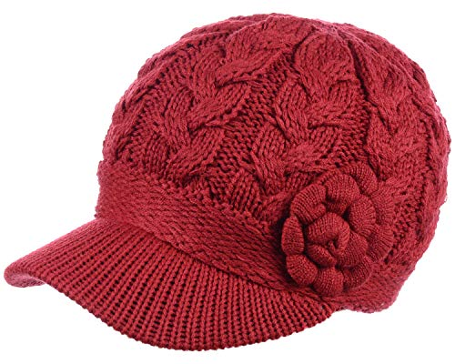 - BYOS Womens Winter Chic Cable Knitted Newsboy Cabbie Cap Beret Beanie Hat with Visor, Warm Plush Fleece Lined, Many Styles (Cable w/Flower Red)