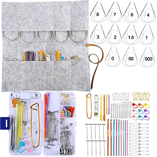 - Exquiss Knitting Needles Set-11 Pcs Lace Circular Stainless Steel Circular Knitting Needles+9 Pcs Aluminum Crochet Hooks+Knitting Weaving Tools+Felt Knitting Needles Case (Stainless Steel+Aluminum)