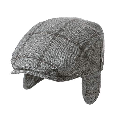 (Mens 60cm Winter Tweed Ivy Newsboy Flat Hunting Gatsby Earflap Hat Fall Grey)
