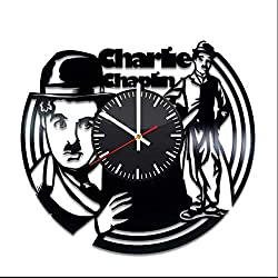 OlhaArtShop Charlie Chaplin Comic Actor Vinyl Wall Clock, Vinyl Record Handmade Art Decor for Home Room Kitchen, Vintage Original Gift for Any Occasion, Party Supplies Decoration