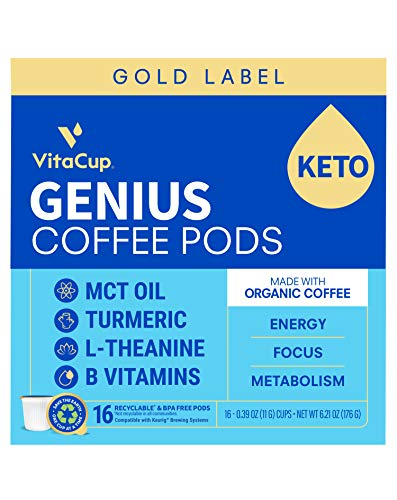 VitaCup Gold Label Genius Organic Coffee Pod with MCT, Turmeric, L-Theanine, and B & D3 Vitamins for Keto Energy, Focus, & Metabolism in Recyclable Single Serve Pod Compatible with Okay-Cup Brewers Including Keurig 2.0, 16 CT