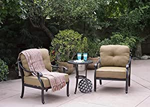 Darlee Nassau Cast Aluminum 3-Piece Club Chair Set/Seat, Back Cushions and 21-Inch Round End Table/Ice Bucket Insert, Antique Bronze