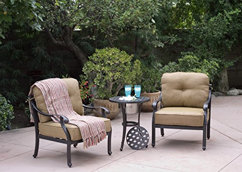 Darlee Nassau Cast Aluminum 3-Piece Club Chair Set/Seat, Back Cushions and 21-Inch Round End Table/Ice Bucket Insert, Antique Bronze (Patio Aluminum Furniture Deep Seating)