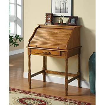 coaster roll top bedroom home office secretary desk oak finish amazoncom coaster shape home office