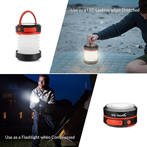 Thorfire Camping Lantern USB Rechargeable Solar Powered Emergency Light LED Camping Tent Light Lamp Portable Flashlight Safe Light for Camping Hiking Jogging Night Walking -CL04 by Thorfire (Image #1)