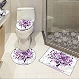 jwchijimwyc Nature 3 Piece Bathroom Rug Set Spring Tree of Life Sacred Woods with Blooming Flower and Butterfly Flying Romance customized Lilac Purple