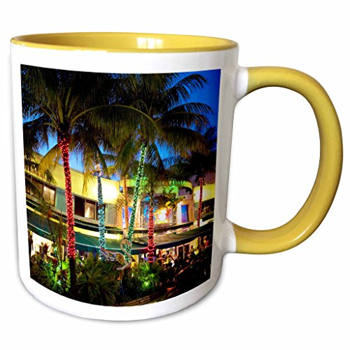 3dRose Danita Delimont - Miami - Ocean Drive, South Beach, Miami Beach, Florida - US10 GJO0300 - Greg Johnston - 11oz Two-Tone Yellow Mug - Miami In Beach Outlets South