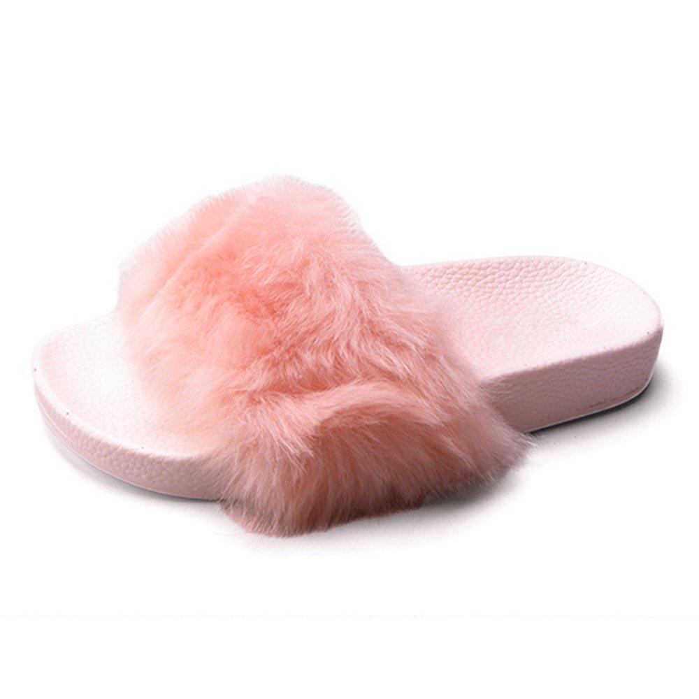 709f974836dd5 Betani House Slippers for Women Fur Slides Sandals Flip Flop Soft Slip On  Flat Girls Indoor Outdoor Shoes