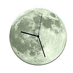 Glow In The Dark Moon Wall Clock, Analog Clock DIY Large Decorative for Living Room Kids Bedroom Luminous Mural Decoration