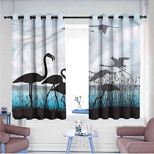 Mdxizc Curtain for Kids Flamingo River Reed Bed Animals Girl Room Blackout Curtain W55 xL45 Suitable for Bedroom,Living,Room,Study, etc. ()