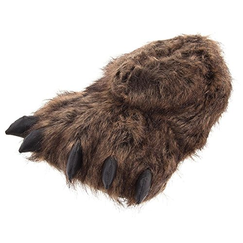 Grizzly Bear Paw Slippers for Women and Men Brown -