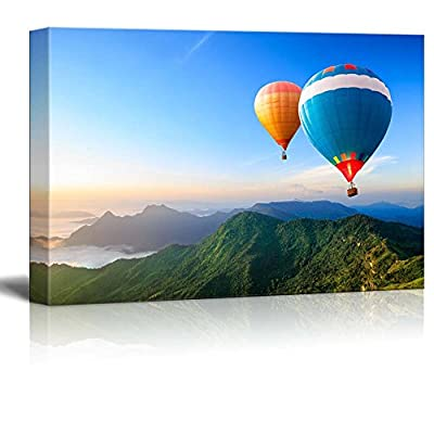 Classic Design, Magnificent Print, Beautiful Scenery of Colorful Hot Air Balloons Flying Over The Mountain Wall Decor