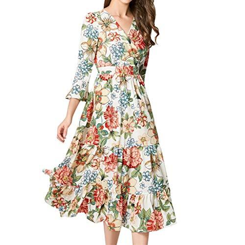 Womens A-line Dresses Floral Print Elegant Ruffles V-Neck Lantern Sleeve Knee-Length Vintage Dress (M, Orang) by KoLan Women Dress (Image #1)