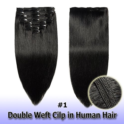 8A Grade Clip in Hair Extensions Human Hair Double Weft 10 Inch 110g Thick Soft Straight Real Remy Hair 8pcs Clip on (Jet Black #1, 10'')