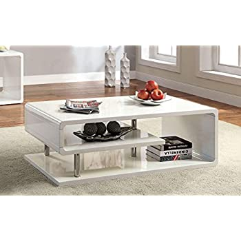 Furniture of America CM4057C Ninove I White High Gloss Coffee Tables