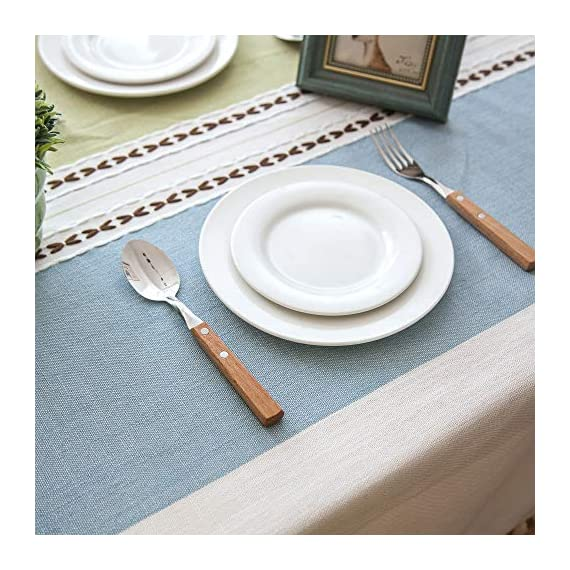 """Enova Home Elegant Rectangular Thicken Cotton and Linen Tablecloth with Tassels Dust Proof Table Cover for Kitchen Dinning Tabletop Decoration (Turquoise and Light Blue, 54""""x 78"""") - Composition: 90% Cotton 10% Linen Handmade/Hand-dyed by local skilled artisan in the middle of China Size:Approximately 54"""" x 78"""" Rectangle (140cm x 200cm) - tablecloths, kitchen-dining-room-table-linens, kitchen-dining-room - 51UBVKkzuhL. SS570  -"""