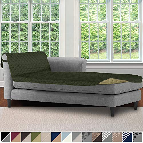 Sofa Shield Original Patent Pending Reversible Sofa Chaise Protector, 102x34 Inch, Washable Furniture Protector, 2 Inch Strap, Chaise Lounge Slip Cover for Pets, Dogs, Kids, Cats, Hunter Green Sage (Indoor Lounge Chaise Furniture)