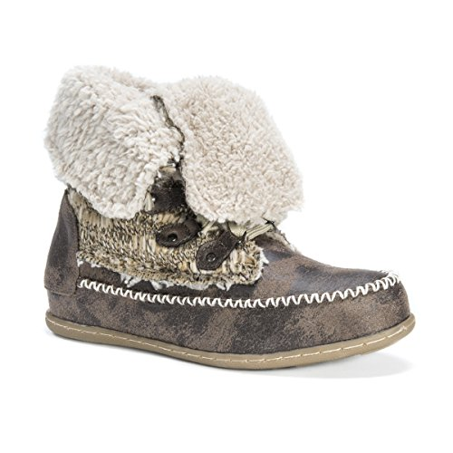 Muk Luks Women's Lilly Lace Up Boot, Grey, 9 M ()