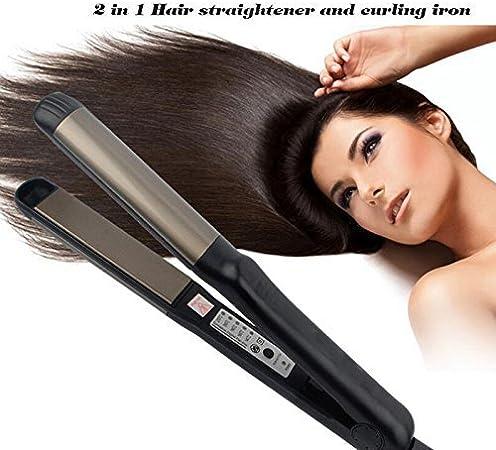 Lisseur Cheveux Fer a Lisser , 140℃ 220℃ Lisseur 2 en 1 Straight & Curl(Noir)