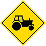 Yellow Diamond Caution Tractor Crossing Commercial Metal Square Singl Sign, 12x12