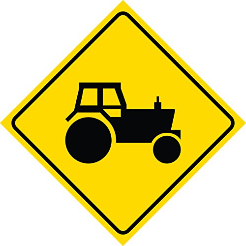 Yellow Diamond Caution Tractor Crossing Commercial Metal Square Singl Sign, 12x12 by iCandy Combat