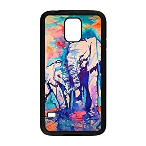 Colorful Elephant DIY Cover Case with Hard Shell Protection for SamSung Galaxy S5 I9600 Case lxa#272414