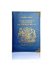 Passport Holder For UK And European Passport Protector Cover Wallet PU Leather by Lizzy (Royal Blue)