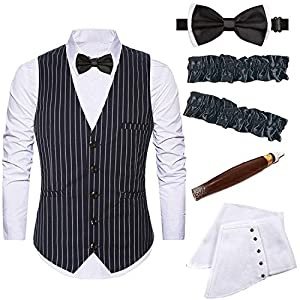 Mens 1920s Accessories Gangster Stripe Vest Set – Gangster Spats,Armbands,Pre Tied Bow Tie,Toy Fake Cigar