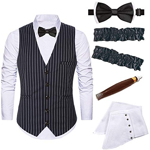 Mens 1920s Accessories Gangster Stripe Vest Set - Gangster Spats,Armbands,Pre Tied Bow Tie,Toy Fake Cigar,Black,XL1