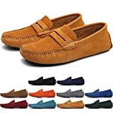 MCICI Men's Penny Loafers Slip-ONS Flats Casual Moccasins Handmade Driving Shoes Suede Leather