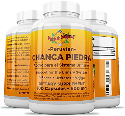 Chanca Piedra 100 Count - 1000mg Peruvian Raw Material Pure Stone Breaker - 2 Capsules Per Serving kidney stones crusher (Best Way To Pass Kidney Stones Naturally)