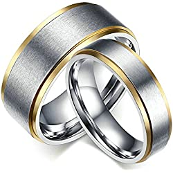 Partner Rings Stainless Steel Wedding Rings Set for Him And Her 6/8 Mm Women