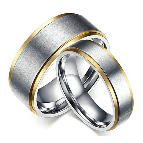 Daesar Wedding Rings Set for Him and Her Rings 6MM/8MM Couple Rings Silver Rings Women Size 6 & Men Size 11 ()
