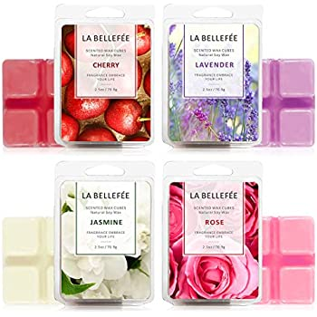 LA BELLEFÉE Scented Wax Melts (4 x 2.5 oz) Natural Soy Wax Cube with Essential Oils for Warmer Cubes/Tarts - Rose Lavender Jasmine Cherry