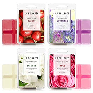 LA BELLEFÉE Scented Wax Melts (4 x 2.5 oz) Natural Soy Wax Cube for Warmer Cubes/Tarts - Rose Lavender Jasmine Cherry