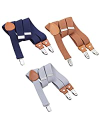 3PCS Kids Boys Mens Suspenders Sets - Adjustable Elastic Y Back Strong Clips Synthetic Leather Suspender (Navy Blue/Coffee/Grey, 23.6 Inch (7 Months - 3 Years))