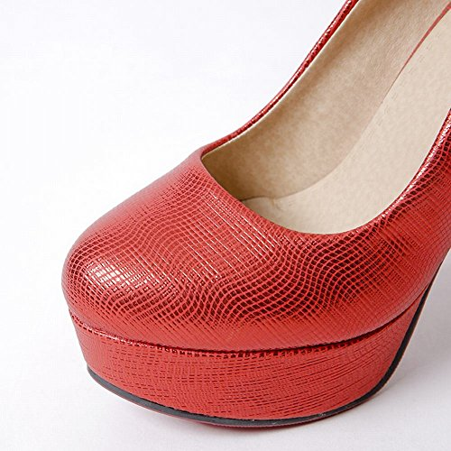 Pumps Damen high Rot Mee Shoes runde Plateau heels fpqYxS