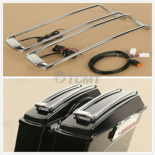 TCMT Hard Saddlebag Lid Trim Top Rails Rack W/LED Light For Harley Touring (Saddlebag Trim)