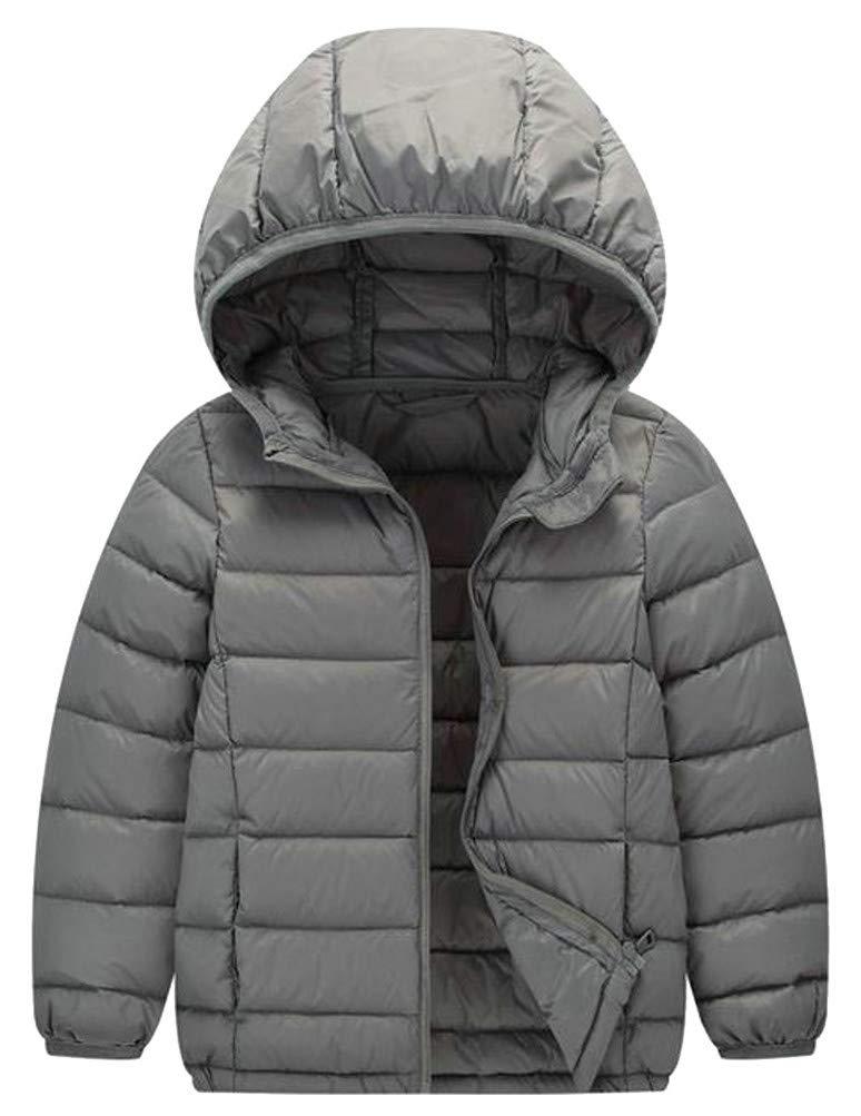 Hajotrawa Boy Loose Down Lightweight Hoody Packable Portable Jacket Parka Coat Gray 12T