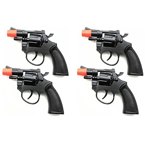 Hunson Set Of 4 Packs Cap Guns Toy 38 Style Police Revolver For Kids 8 Age Toy Cap Guns Kids Costumes