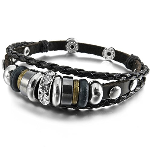 MunkiMix Alloy Leather Bracelet Bangle Cord Infinity Love Symbol Men,Women
