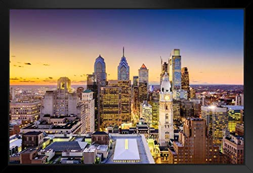 (Philadelphia Pennsylvania Skyline Buildings Sunset Photo Framed Poster 20x14 inch)