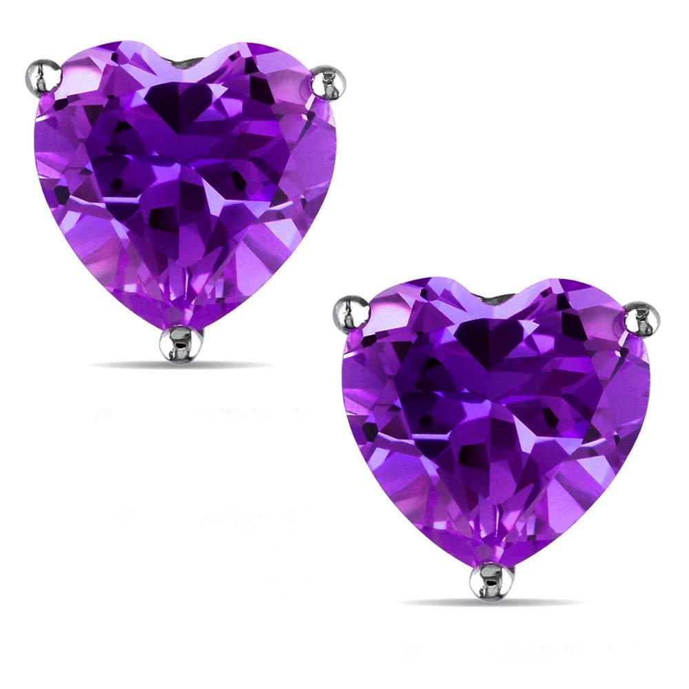 14k Gold Butterfly Backings /& Sterling Silver Basket Settings Heart Cubic Zirconia Simulated Amethyst Stud Earrings 5.00ctw