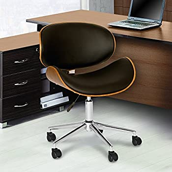 armen living daphne modern office chair in chrome finish with black faux leather and walnut veneer back