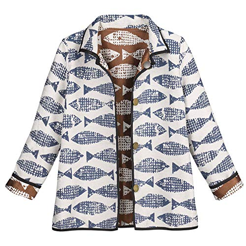 - CATALOG CLASSICS Women's Reversible Jacquard Jacket - Fish Patterned Coat - Medium White