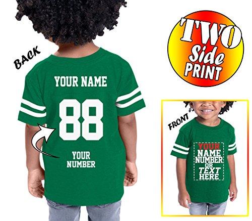 Custom Cotton Jerseys For Toddlers and Kids - Make Your Own Jersey T Shirts - Personalized Team Uniforms For Casual (Green Replica Customized Jersey)