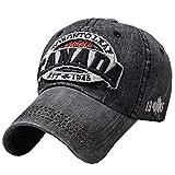 Adjustable Unisex Cool Baseball Cap Denim Hat Sunscreen Free Size(Black)